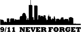 New York Skyline Silhouette 9/11 Never Forget Decal / Sticker 04