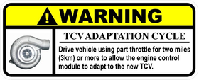 TCV Adaptation Warning Label Decal / Sticker 01