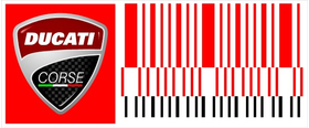 Ducati Wrooom Corse Bar-Code Decal / Sticker