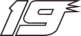 19 Race Number Decal / Sticker OUTLINE