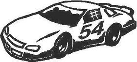 Race Car Outline Decal / Sticker 02