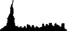 New York Skyline Silhouette Decal / Sticker 05