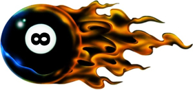 Flaming 8 Ball Decal / Sticker 02