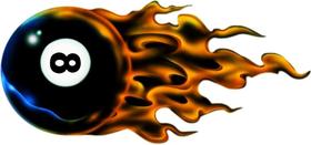 Flaming 8 Ball Decal / Sticker 03