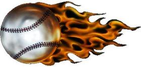 Flaming Baseball Decal / Sticker