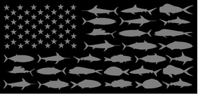 American Flag Fish Decal / Sticker 109 Black and Gray