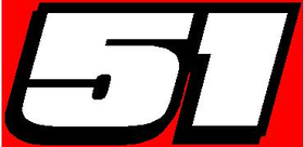 51 Race Number 2 Color Hemihead Font Decal / Sticker