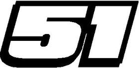 51 Race Number Hemihead Font Decal / Sticker