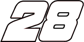28 Race Number Decal / Sticker OUTLINE