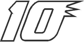 10 Race Number Outline Decal / Sticker