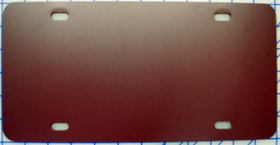 zz Plastic Burgundy Maroon Blank License Plate