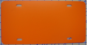 zz Plastic Orange Blank License Plate
