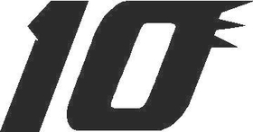 10 Race Number Solid Decal / Sticker