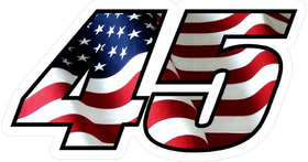 Number 45 American Flag Decal / Sticker c
