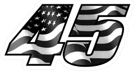 Number 45 Black and White American Flag Decal / Sticker d