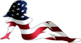 American Flag Mudflap girl Decal / Sticker