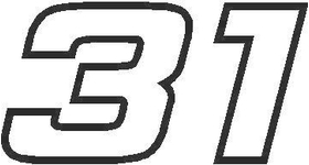 31 Race Number Hemihead Font Decal / Sticker