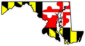 Maryland State Outline Flag Decal / Sticker 04