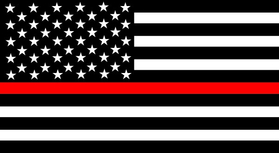 Thin Red Line American Flag Decal / Sticker 97