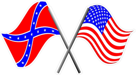 American and Confederate Crossed Flags Decal / Sticker
