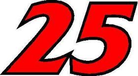 25 Race Number 2 Color France Bold Font Decal / Sticker