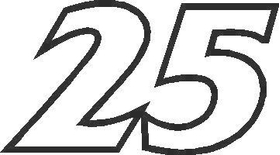 25 Race Number France Bold Font Decal / Sticker