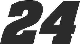 24 Race Number Aardvark Bold Font Decal / Sticker
