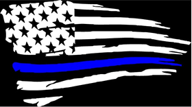Weathered Thin Blue Line American Flag Decal / Sticker 96