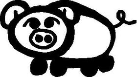 Pig Stick Figure Decal / Sticker 01