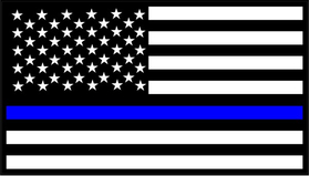Thin Blue Line American Flag Decal / Sticker 55