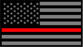 Thin Red Line American Flag Decal / Sticker 59