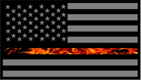 Thin Red Line True Fire American Flag Decal / Sticker 61