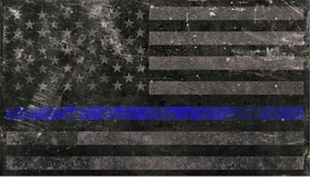 Distressed Thin Blue Line American Flag Decal / Sticker 63