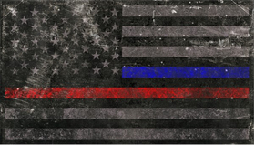 Distressed Thin Blue/Red Line American Flag Decal / Sticker 78