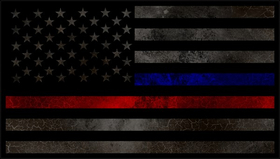 Distressed Thin Blue/Red Line American Flag Decal / Sticker 80