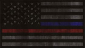 Distressed Thin Blue/Red Line American Flag Decal / Sticker 81