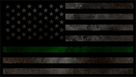 Distressed Thin Green Line American Flag Decal / Sticker 85
