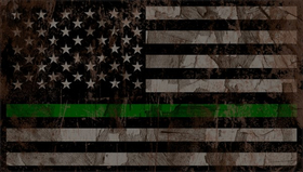 Distressed Thin Green Line American Flag Decal / Sticker 86