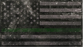 Distressed Thin Green Line American Flag Decal / Sticker 87
