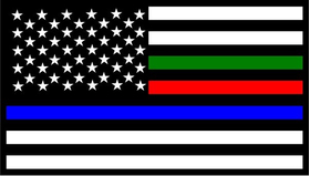 Thin Blue/Red/Green Line American Flag Decal / Sticker 90