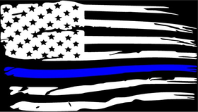 Weathered Thin Blue Line American Flag Decal / Sticker 98