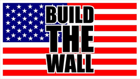 Build The Wall American Flag Decal / Sticker 04