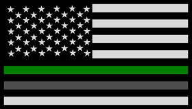 Thin Green / Gray Line American Flag Decal / Sticker 114
