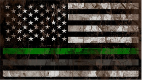 Distressed Thin Green / Gray Line American Flag Decal / Sticker 116