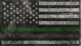 Distressed Thin Green / Gray Line American Flag Decal / Sticker 117