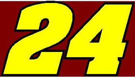 24 Race Number 2 Color Aardvark Bold Font Decal / Sticker