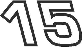 15 Race Number Euromode Bold Font Decal / Sticker