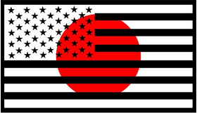 American Japanese Flag Decal / Sticker 01