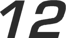 12 Race Number Euromode Bold Font Decal / Sticker