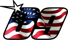 69 Nicky Hayden American Flag Decal / Sticker c